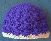 Newborn Baby Hat, Crocheted, Girl, Purple, Hospital Hat, Baby Shower Gift