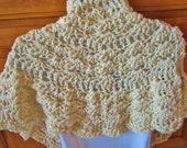 Crocheted Beige Shawl, Wrap