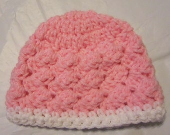 0-3 Month Baby Girl Hat, Crocheted , Pink Baby Hat, Baby Shower Gift