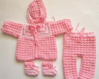 0-3 Month Sweater Set, Pink Sweater Set, Crocheted Girl Outfit, Baby Shower Gift, Pants Set