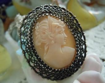 SALE Vintage Sterling KL Signed Vintage Shell Cameo 1900s Bride Filigree Pendant Brooch Necklace FREE Shipping