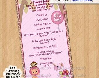 Attractive Sweet Safari Party Event Programme / Program Girls Baby Shower Pink Monkey  Lion Elephant Giraffe /