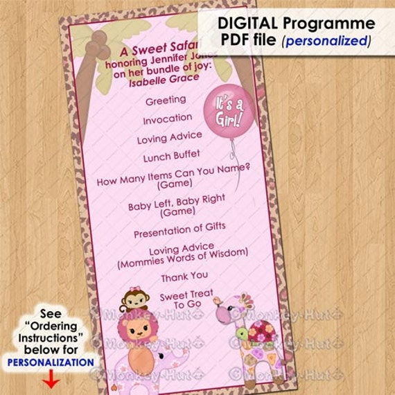Baby Shower Program Template Sweet Safari Party Event Programme  Program Girls Baby Shower