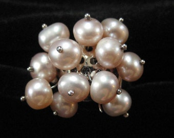 Dangling Pearl Ring Sterling Silver Pale Pink Freshwater Pearls, Size 8.5