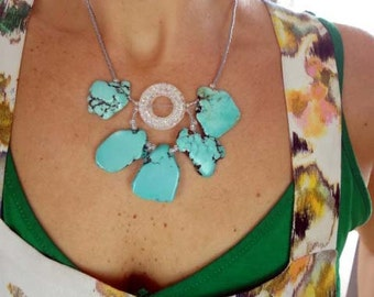 Free form turquoise flower necklace pendant