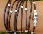 BOHO Leather Wrap Bracelet - Adjustable Distressed Natural Leather Triple Wrap Bracelet w/ Silver Tibetan Style accents - USA Seller - 89