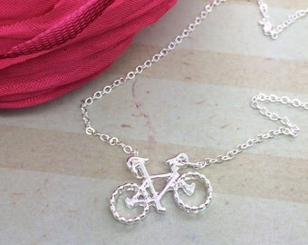 Bicycle Necklace - Silver Small bicycle charm small bike charm necklace - Life is a beautiful adventure - Enjoy the Ride -Graduation gift