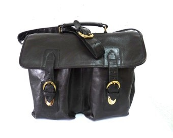 Vintage Black Leather Messenger Briefcase Laptop MacBook Pro Crossbody Satchel Shoulder Bag
