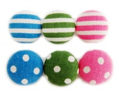 6 Large Fabric Buttons Set - Dots and Stripes - Fabric Covered Buttons