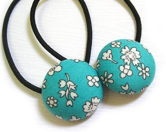 Button Ponytail Holders - Flowers on Teal