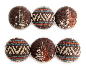 Fabric Covered Buttons - Faux Navajo Print - 6 Large Fabric Buttons
