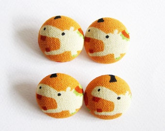 Fabric Covered Buttons - 4 Large Fabric Buttons Set - Cute Hippos