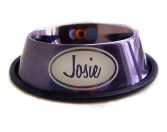 Engraved Water Bowl - Purple - Doggy Dish - Custom - Personalized with name - Stainless Steel