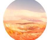 Abstract Art - round photo, geometric wall decor print - pastel, orange, robin egg blue, Spring, modern, Scotland photograph, wall art print
