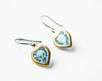 Light Blue Heart Swarovski Titanium Earrings Vintage Dainty Romantic Valentine