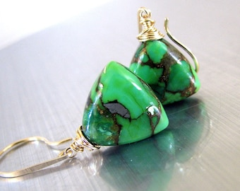 Green Turquoise Earrings, Gold, Parrot Green Mojave Turquoise, Dangle, Spring Fashion, Handmade - Spring Green
