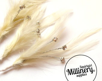 3 Ivory Hackle Feather & Diamante / Rhinestone Wired Spray Mounts for Fascinators, Wedding Bouquets and Hat Trimming