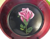 Handpainted Burgundy Charger with Dark Pink Rose