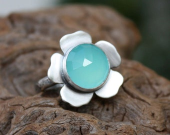 Chalcedony statement flower gemstone ring,sterling silver,blossom,handmade natural aqua blue,rose cut  .