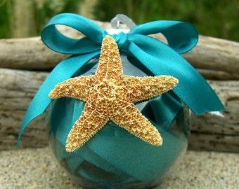 Christmas Starfish Ornament-TEAL-Starfish Ornament, Hostess Gift, Beach Home Decor, Coastal Christmas, Ornament, Teal Blue, Mermaid Ornament