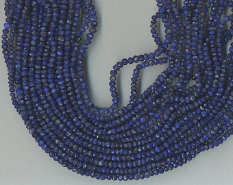 """13.5"""" Strand 3.5mm Faceted Lapis Lazuli Rondelle Beads"""