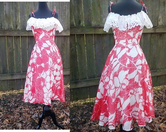 Off the Shoulder Dress, 70s Dress, Vintage Dress, Vintage Costume, Vintage Sundress, 70s Sundress in Red and White with Shoulder Ties Size 2