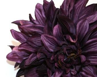 1 ENORMOUS Deep Purple Silk Dahlia - Artificial Flower - PRE-ORDER