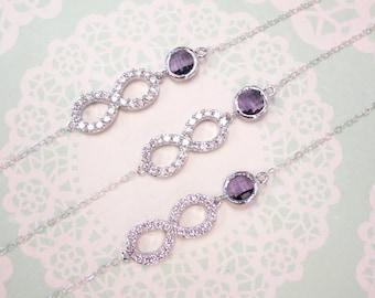 Infinity - Crystal Infinity Bracelet with Amethyst Glass Bracelet, Love, Forever, bridesmaid bracelet, purple weddings bridal jewelry
