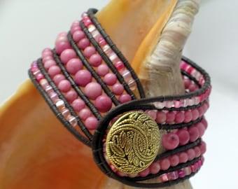 Pink Rhodonite Cuff Bracelet