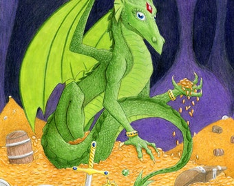 Gold Hoarding Dragon art print in multiple sizes by Tursiart also as art pendant ATC ACEO green dragon with ruby jewel hoard gems treasure