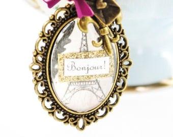 SALE Hello from Paris Eiffel Tower Women's Charm Necklace - Paris, Bonjour - Mixed Media Jewelry - Quote Necklace