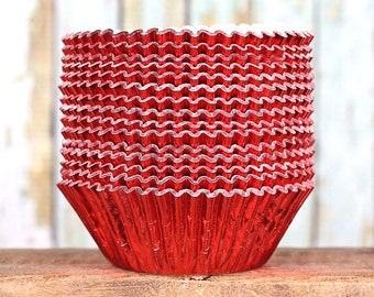 Red Foil Cupcake Liners, Red Foil Wedding Cupcake Liners, Foil Baking Cups, Red Holiday Liners, Red Foil Muffin Cups, Red Cupcake Tins (50)