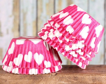 Pink Heart Cupcake Liners, Valentine's Day Cupcake Liners, Pink Heart Baking Cups, Pink Heart Cupcake Wrappers, Pink Cupcake Liners (50)