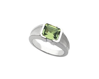 Sterling Silver Half-Bezel Ring with Emerald Cut Spinel
