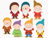 Disney Inspired Seven Dwarfs from Snow White Digital CLIP ARTS personal and commercial use for invitations, cupcake toppers, party supplies