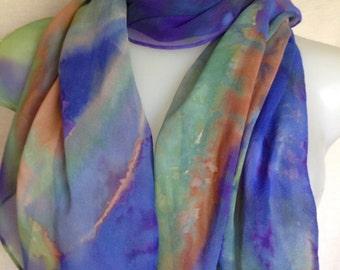 Hand painted silk chiffon scarf generous sized