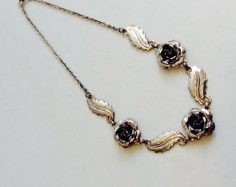 Vintage Sterling Silver Rose and Leaf Necklace.  Similar to Danecraft.