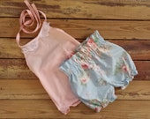 Halter Top and High Waisted Shorts -Baby Toddler Girls Bloomers Shorties - Summer, Birthday Pics, Beach, Birthday Gift- Vintage Floral Lace