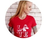 Roller Derby Tshirt, LOVE T Shirt, Ladies Cotton  Graphic Tee, Screenprinted Shirt, Valentines Day Gift, Derby Wife, Red, Roller Skate