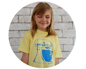 Kid's Mixer Shirt, Youth Clothing, Screen-printed  T Shirt, Light Butter Yellow, Hand Printed screen-printed t Shirt, Baking, Baker Children