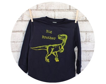 Dinosaur Shirt, Long Sleeved  Big Brother TShirt, Gift For Sibling, New Baby, Screen-printed Clothing, Cotton Tee Shirt, Dino Graphic Raptor