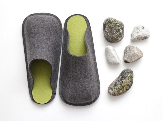 Natural Gray & Green / Industrial Wool Felt Slippers / Womens / Mens / Suede Soles / Size US 6.5 - 13 / Eco-friendly