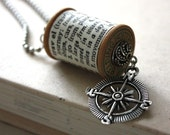 Travel Compass Jewelry Necklace Traveler Jewelry / Vintage Wooden Spool Dictionary Definition Necklace : Wooden Spool Necklace