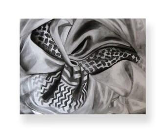 Original Charcoal Drawing, Draped Fabric, 18 x 24'' on Paper