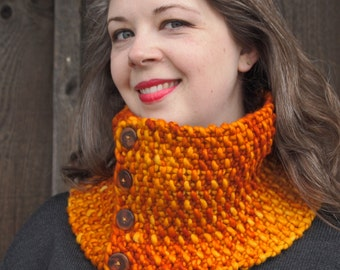 luxurious merino cowl in flame orange