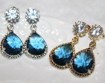 Sapphire Earrings,Blue Bridal Earrings,Blue Drop Earrings,Navy Earrings,Rhinestone Gold Silver,Blue Crystal Wedding Jewelry -Gift to Her