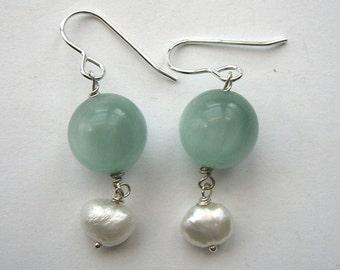 Aqua-Marine & Freshwater Pearl Sterling Silver Drop Earrings