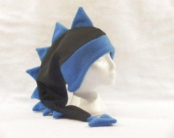 Dragon Hat Black Blue Mens Womens Boys Dinosaur Ear Flap Hat by Ningen Headwear