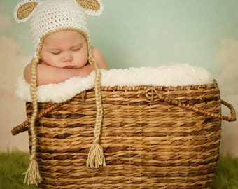 Ready to SHIP   Crocheted Baby Easter White Lamb Earflap Hat