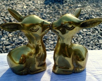 Vintage Korean Brass Kissing Doe Set